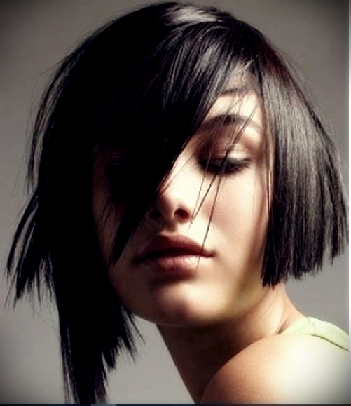 13. Chic Dark Bob with asymmetric bangs