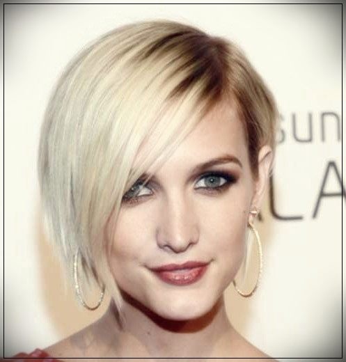 3. Blonde Asymmetrical Bob Haircut with side bangs
