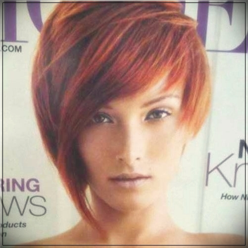 6. Red Short Asymmetric Bob Style with thin bangs