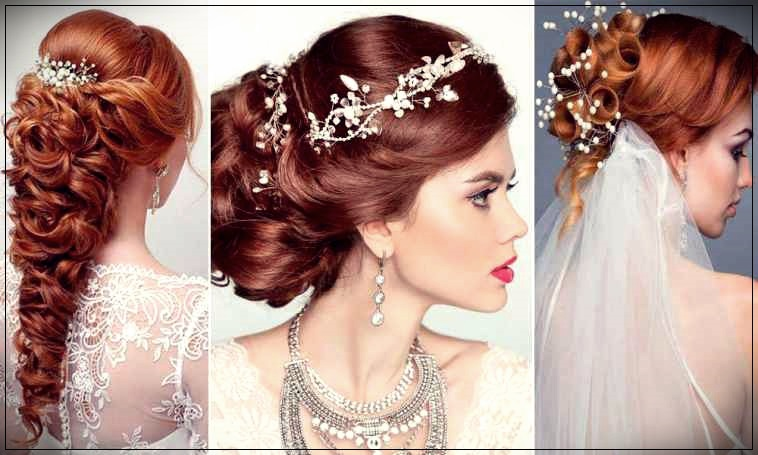 Bridal hairdo with red hair