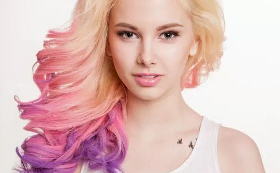 Pink or light blue hair