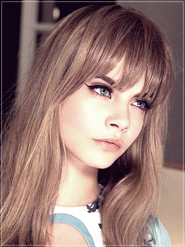 Long Length Haircuts For Women With Bangs 64