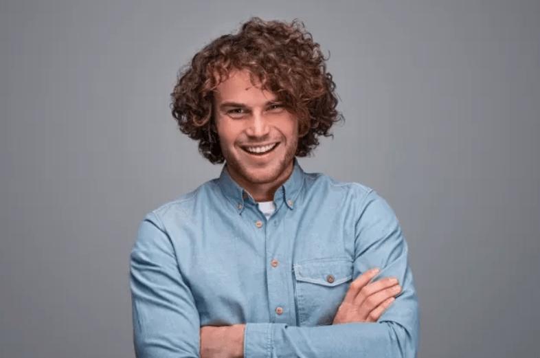Curly hair man